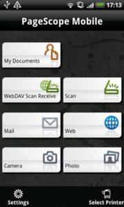 PageScope Mobile — печать и сканирование с мобильных устройств используя Konica Minolta bizhab